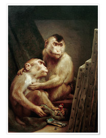 Póster  The art critic - two monkeys look at a painting - Gabriel von Max