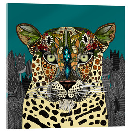 Cuadro de metacrilato  Leopard Queen teal - Sharon Turner
