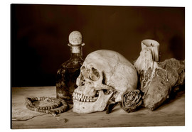 Aluminio-Dibond  Still Life - skull, ancient book, dry rose and candle