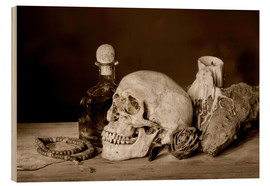 Madera  Still Life - skull, ancient book, dry rose and candle