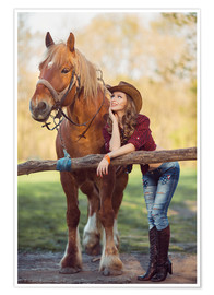 Póster young cowgirl and horse