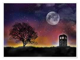 Póster  Doctor who tardis night - Golden Planet Prints
