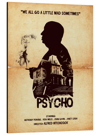 Aluminio-Dibond  Psycho movie inspired hitchcock silhouette art print - Golden Planet Prints