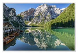 Póster Braies Lake, South Tyrol, Italy