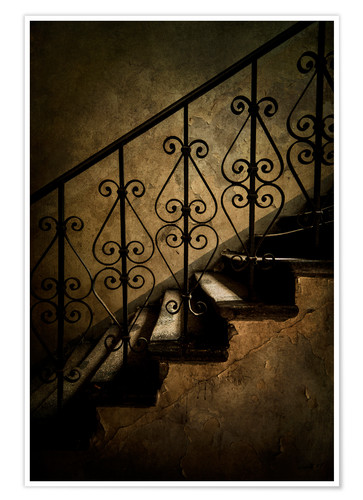 Póster Old staircase with ornamented handrail