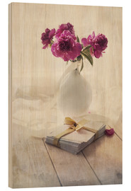 Cuadro de madera  Still life with pink peonies and love letters - Jaroslaw Blaminsky