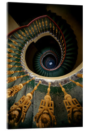 Metacrilato  Ornamented spiral staircase in green and yellow - Jaroslaw Blaminsky