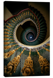 Lienzo  Ornamented spiral staircase in green and yellow - Jaroslaw Blaminsky