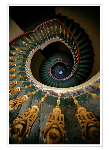 Póster Ornamented spiral staircase in green and yellow