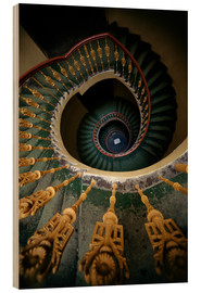 Madera  Ornamented spiral staircase in green and yellow - Jaroslaw Blaminsky