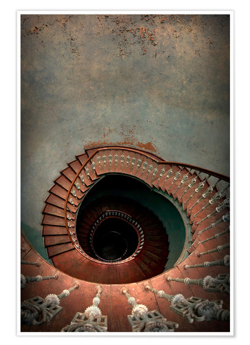 Póster Spiral staircase in red