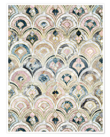 Póster Art Deco Marble Tiles in Soft Pastels
