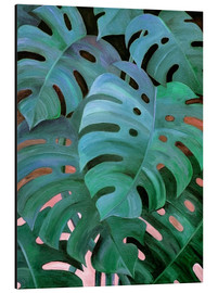Aluminio-Dibond  Monstera Love in Teal and Emerald Green - Micklyn Le Feuvre