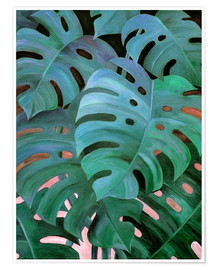 Póster  Monstera Love in Teal and Emerald Green - Micklyn Le Feuvre
