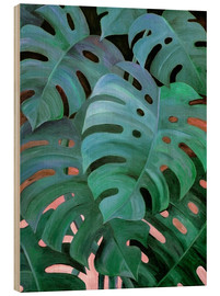 Cuadro de madera  Monstera Love in Teal and Emerald Green - Micklyn Le Feuvre