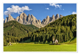 Póster Val di Funes, Dolomites, South Tyrol