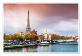 Póster Eiffel tower and river Seine at sunset, in autumn, Paris, France