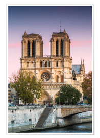 Póster  Notre Dame cathedral at sunset, Paris, France - Matteo Colombo