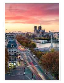 Póster Notre Dame and city of Paris at dusk, France