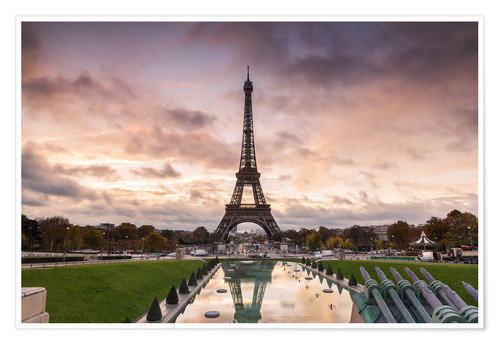Póster EIffel tower at sunset from the Trocadero, Paris, France