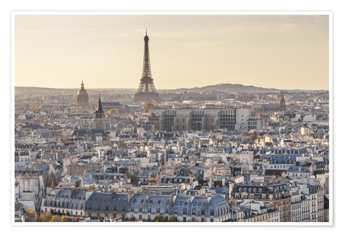 Póster Eiffel tower and city of Paris at sunset, France