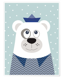 Póster  Bear sailor nautical - Jaysanstudio