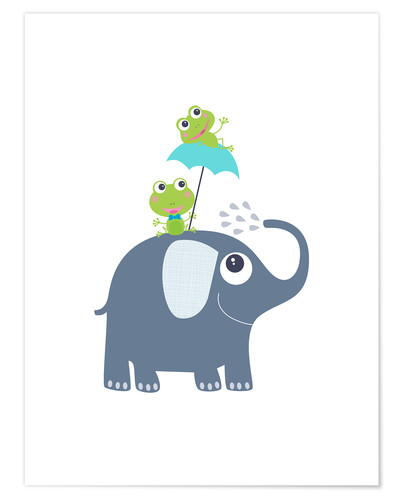 Póster Frogs and elephant