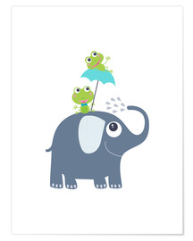 Póster  Frogs and elephant - Jaysanstudio
