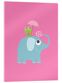 Cuadro de metacrilato  One frog and one elephant pink - Jaysanstudio