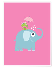 Póster  One frog and one elephant pink - Jaysanstudio
