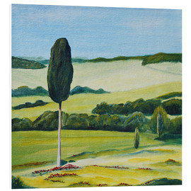 Cuadro de PVC  Lonely Cypress Tree on Terrapille Close to Pienza Tuscany - Christine Huwer