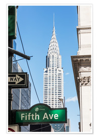 Póster Crysler building and Fifth avenue sign, New York city, USA