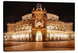 Lienzo  Saxon State Opera House in Dresden at night (Germany) - Christian Müringer