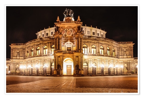 Póster Saxon State Opera House in Dresden at night (Germany)