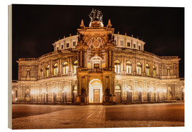 Cuadro de madera  Saxon State Opera House in Dresden at night (Germany) - Christian Müringer