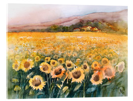 Cuadro de metacrilato  Sunflower field in the Luberon, Provence - Eckard Funck