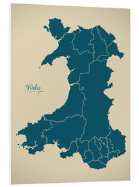 Cuadro de PVC  Wales UK Map Artwork petrol - Ingo Menhard