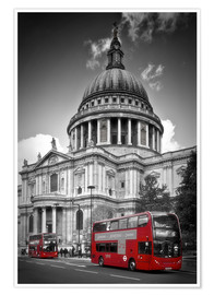 Póster LONDON St. Paul's Cathedral and Red Bus