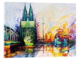 Metacrilato  Cologne Cathedral Skyline colored - Renate Berghaus