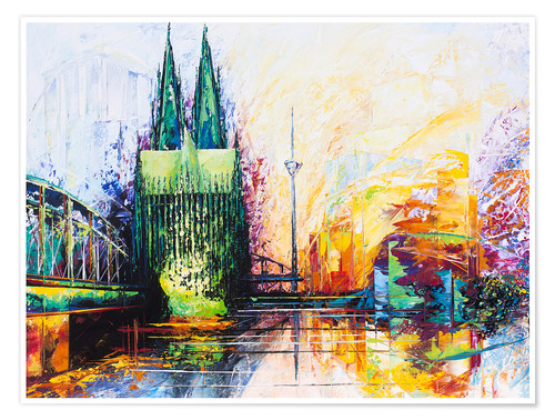 Póster Cologne Cathedral Skyline colored