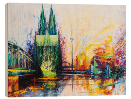Cuadro de madera  Cologne Cathedral Skyline colored - Renate Berghaus