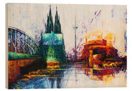 Cuadro de madera  Cologne Cathedral Skyline - Renate Berghaus