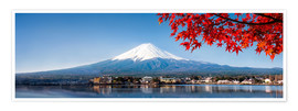 Póster  Mount Fuji and Lake Kawaguchiko in autumn - Jan Christopher Becke