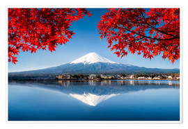 Póster  Mount Fuji at the lake Kawaguchiko in Japan - Jan Christopher Becke