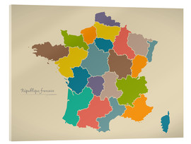 Cuadro de metacrilato  France Modern Map Artwork Design - Ingo Menhard