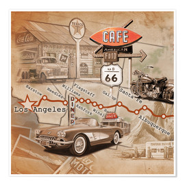 Póster Route 66 Road Trip