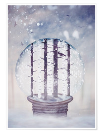Póster Snowglobe with birch trees and raven