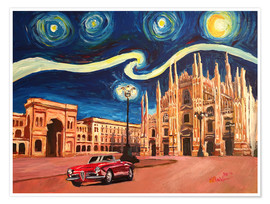 Póster Starry Night in Milan Italy Oldtimer and Cathedral