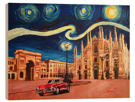 Cuadro de madera  Starry Night in Milan Italy Oldtimer and Cathedral - M. Bleichner