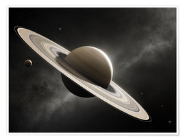 Póster  Planet Saturn with major moons - Johan Swanepoel